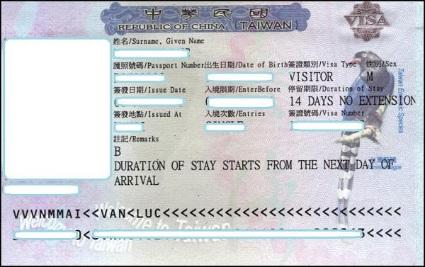 Hướng dẫn làm thủ tục xin Visa đi Đài Loan Tại Hà Nội